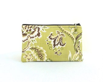Zipper Pouch / Lime Green Chocolate Brown Beaded Zipper Pull - READY TO SHIP