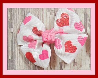 Red and Pink Heart Pinwheel Bow, Girls Valentine Hair Bow, Red and Pink Glitter Hearts Hair Bow, Valentine Hair Bow, Girls Bow Accessories