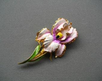 Vintage Brooch Vendome Orchid Flower Collectible Accessories Floral Exotic FREE SHIPPING To The USA And Canada