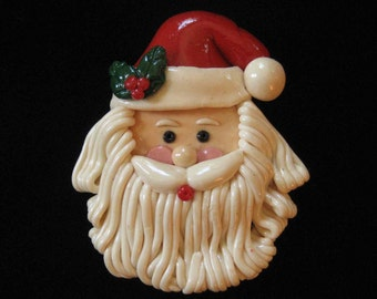 Adorable Vintage Artisan Crafted Salt Dough Santa Brooch, 1980's