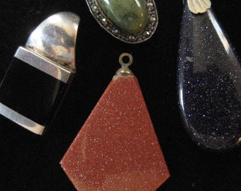 LOT: 4 Pendants, Sterling, Black Onyx, Goldstone, Blue Goldstone, Marcasite