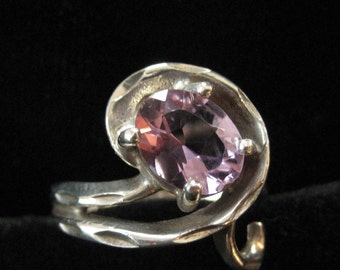 Sterling Silver Amethyst Ring, Scrolling Design, Size 6.5
