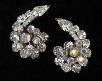 D&E Juliana Earrings, Clear Rhinestones with AB Florette CONFIRMED