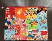 kawaii animal patchwork zipper pouch