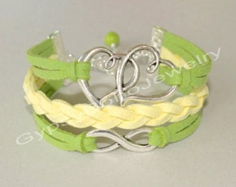 Pick COLOR / SIZE - Silver Double Heart / Infinity Figure 8 Charm Bracelet - Braided Microfiber Faux Suede Leather Cord  Made In  USA  sc1