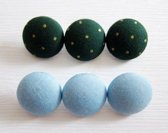 6 Medium Fabric Buttons Set - Gold Dots on Green and Silver Dots on Blue