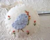 Felt Bird Pincushion Flower Fob Scissor Charm Penny Rug Felted Wool Applique