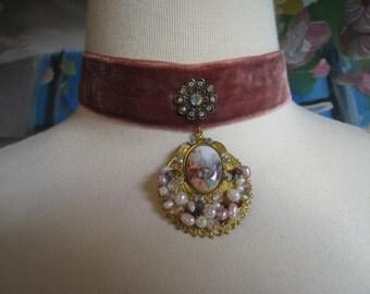 Vintage Rose Velvet Cameo Pearls Rhinestones Gold Marie Antoinette Necklace Choker (Made To Order)