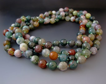 Long Multi Colored Beaded Gemstone Necklace -  Jasper  -  60 inches