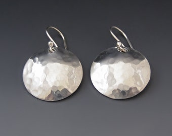 Sterling Silver Dome Earrings - Hammered - Round