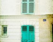 Paris Art Print - mint green, Paris door, window, Paris photography, door in Paris, fine art, window decor, butter yellow, France wall art,
