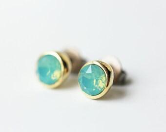Small Pacific Opal Swarovski Crystal Titanium Studs Opalescent Seafoam Green Gold Simple Earrings