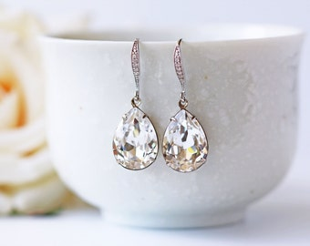 Swarovski Crystal Silver Cubic Zirconia Earrings Clear Crystal Pear Shape Wedding Dangle