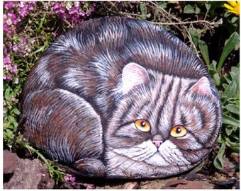 How to paint a Persian cat on a stone - Rock Painting pdf  tutorial in english