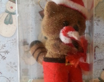 Adorable Vintage Critter Sitter Fuzzy Christmas Ornament-Britches the Racoon