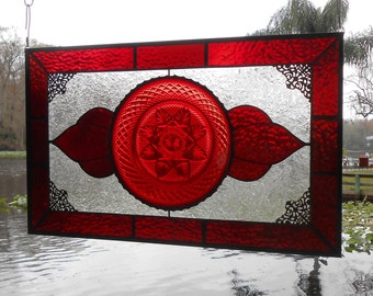 Vintage Stained Glass Panel, Antique Stained Glass Transom Window, Stained Glass Window Valance w/ Depression Glass Plate, OOAK Handmade Art