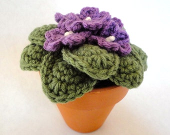 Crochet African Violet Fake Amigurumi Plant Home Decor Great Mothers Day Gift Large