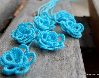 Tatted  Embellishment 3D Roses  - turquoise - 6pcs hand tatted decoration for scrapbook or embellishment or decoration