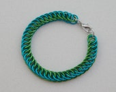 Chain maille bracelet--turquoise and green anodized aluminum half Persian
