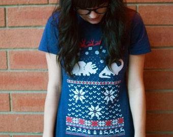 Women's Santa Dinosaur Christmas sweater shirt -- S M L XL skip n whistle