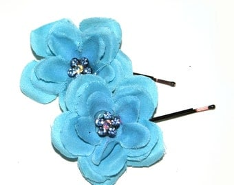 2 Turquoise Flower Hairpins - EMBELLISHED with Crystal Flowers