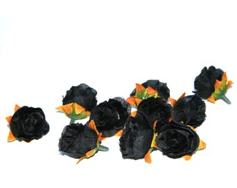 10 Small Black Tea Roses - Artificial Flowers, Silk Roses