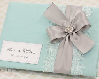 Aqua Blue Silver Wedding Guest Book Custom Made in Your Colors