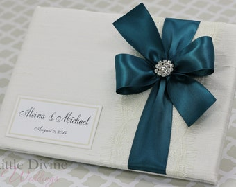 Wedding Guest Book Off White Teal Custom Made in your Colors
