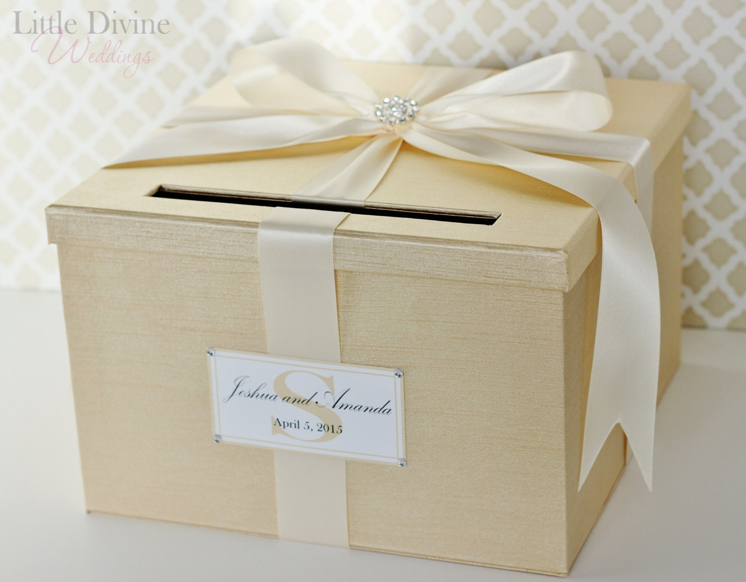 Wedding Card Box Champagne Gold And Ivory Card Holder Custom