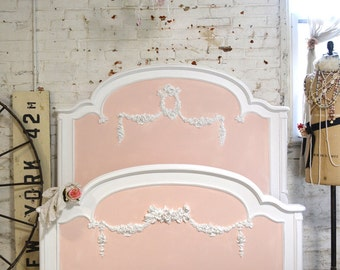 Painted Cottage Pink Romantic French Bed Twin Full/Double SSBD15