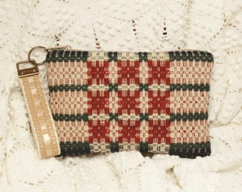New Antique Handwoven Overshot Coverlet Pouch - Cell Phone Pocket, Key Fob Wristlet