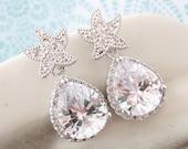 Starfish - Luxe Cubic Zirconia Starfish Earrings Crystal Teardrop, gift for her, Bridal, Beach Wedding Earrings, Bridesmaids, silver