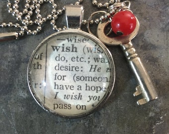 One Word Pendant with Vintage Key - Wish