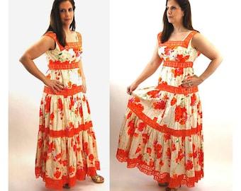 1960s maxi dress long dress boho dress orange floral tiered ruffled dress seersucker empire waist Size M