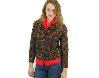 1950s jacket plaid wool tweed brown red yellow cropped jacket Size M