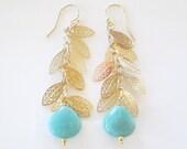 Falling Leaves Amazonite Chandelier Earrings- Gold Filigree Leaves Chandelier Earrings- Amazonite Gold Leaves Earrings- EG-L2