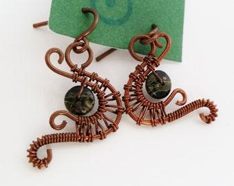 Copper and Jasper Wire Woven Earrings