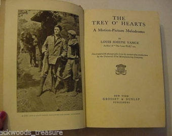 1914 Trey O' Hearts Photoplay Film Movie Still Book Cleo Madison George Larkin Evil Murdering Twin Sister Thriller Antique