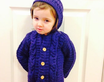 Child Hooded Jacket, Child Hooded Cable Sweater, Sweater Sizes 12 - 18 mth, Sweater Size 2 - 4, Sweater Size 5 - 6, Blue Wool Jacket,