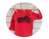 Motorcycle Baby Onepiece, Long Sleeved, Cotton Clothing, Red One Piece Bodysuit, Motor Bike, Baby Shower Gift Biker Infant Top Hand Printed
