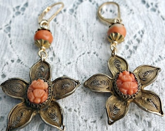 Chinese Carved Coral Gilt Filgree Earrings