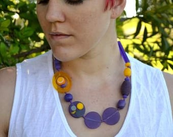 Purple and Yellow resin necklace - adjustable