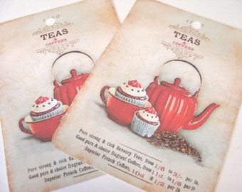 Red Teapot Tags - Set Of 4 - Cottage Chic - Tea And Cake - Cupcake Tags - Vintage Look - Thank Yous - Gift Tags - Red Tea Tags - Red Kitchen