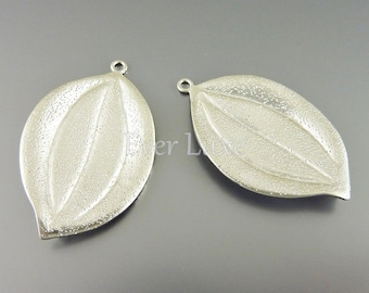 2 solid textured marquise leaf pendants, large leaf jewelry charms, diy jewelry / jewellery supplies 1048-MR-LG large