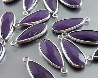 2 indigo purple blue color long teardrop synthetic stone with bezel frame pendants, unique 5131R-IN (bright silver, indigo, 2 pieces)