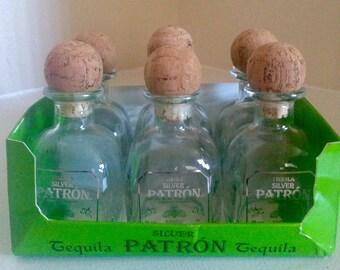 6 Empty 50mL Patron Silver Bottles.