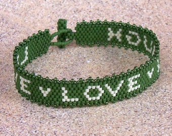 Live Love Laugh - Bracelet Pattern - Peyote Pattern