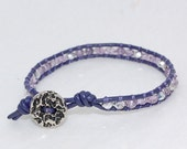 Single Wrap Leather Bracelet with Purple Coated Leather, Vintage Button with Silver and Purple Faceted Czech Glass Beads and Tanzanite Beads