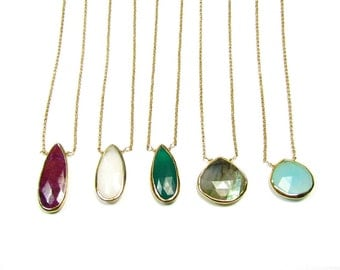 Bezel Set Gemstone Necklace, Gemstone Agate Necklace, 14kt Gold Filled Faceted Gemstone Necklace