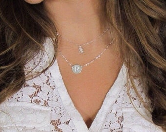 Engraved Initial Necklace, Initial Necklace as seen on Katie Holms, 14kt gold filled or Sterling Silver